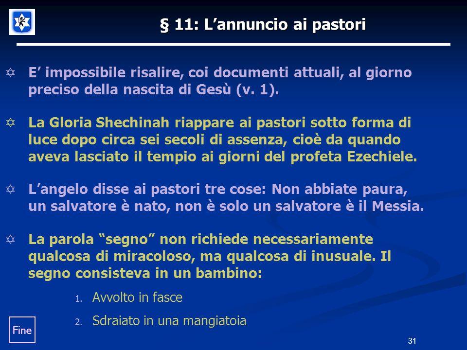 § 11: L'annuncio ai pastori