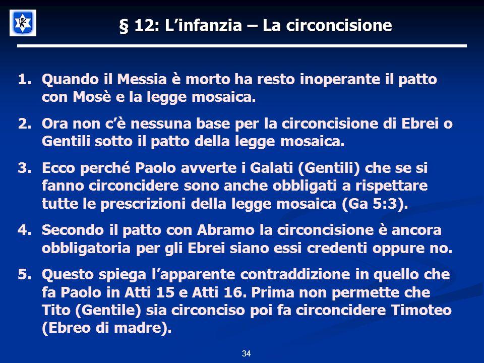 § 12: L'infanzia – La circoncisione