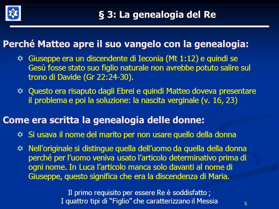Perché Matteo apre il suo vangelo con la genealogia:
