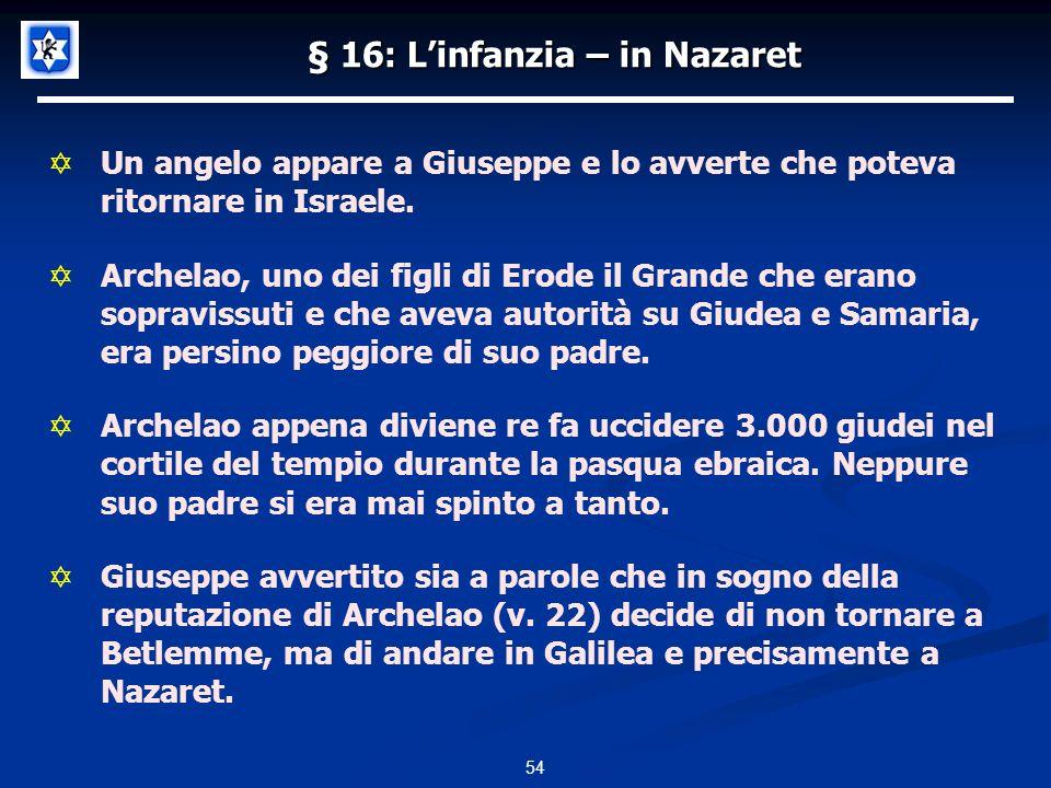 § 16: L'infanzia – in Nazaret