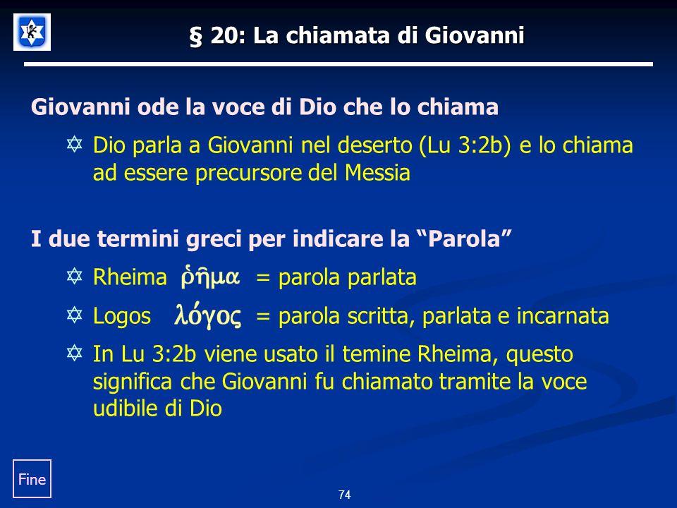 § 20: La chiamata di Giovanni