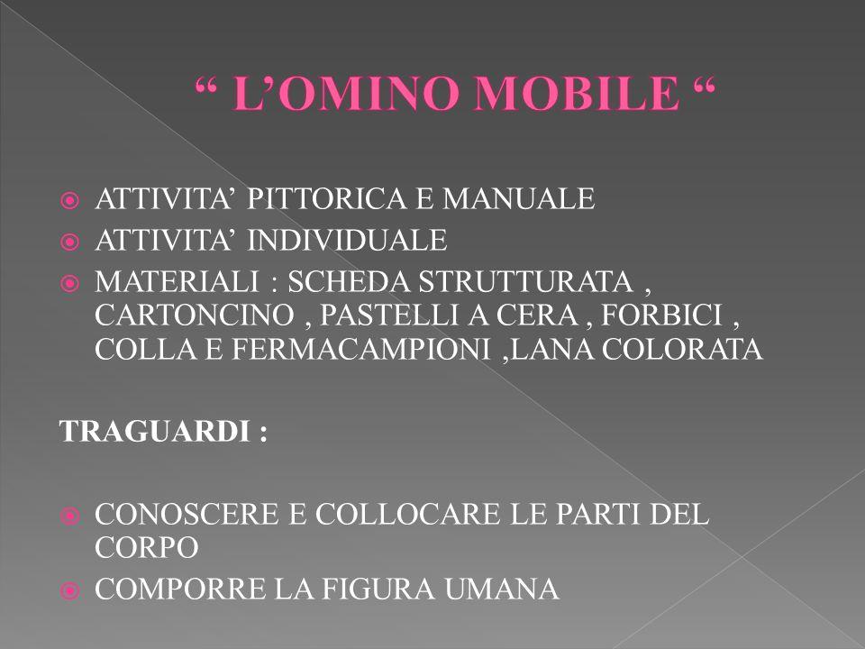 L'OMINO MOBILE ATTIVITA' PITTORICA E MANUALE ATTIVITA' INDIVIDUALE