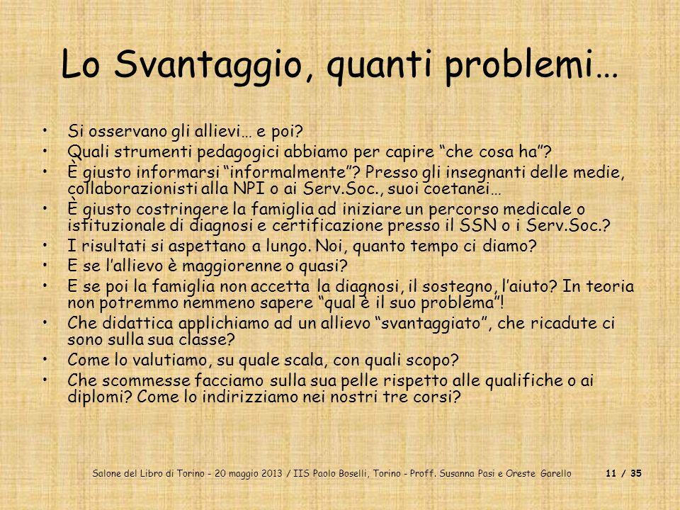 Lo Svantaggio, quanti problemi…