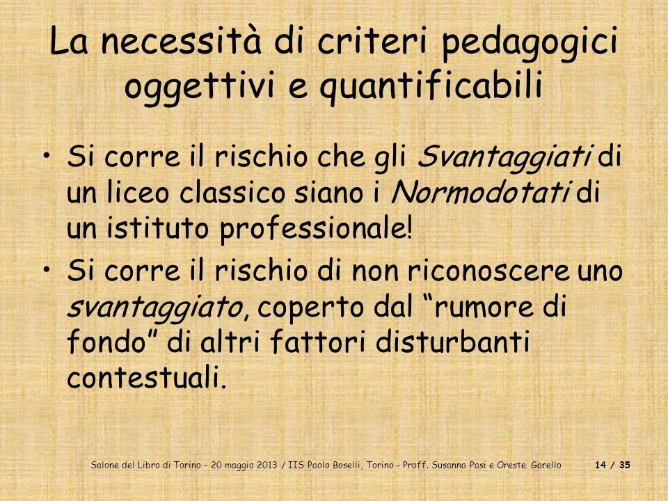 La necessità di criteri pedagogici oggettivi e quantificabili