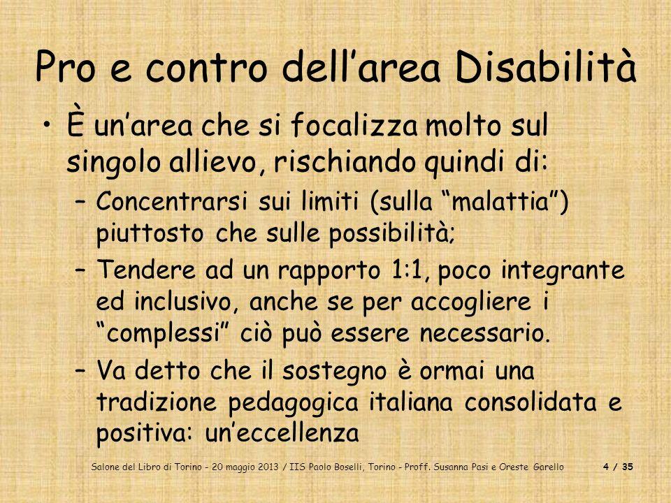 Pro e contro dell'area Disabilità