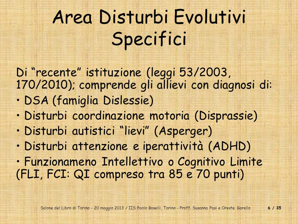 Area Disturbi Evolutivi Specifici