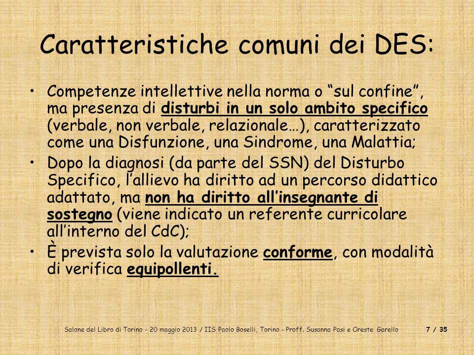 Caratteristiche comuni dei DES: