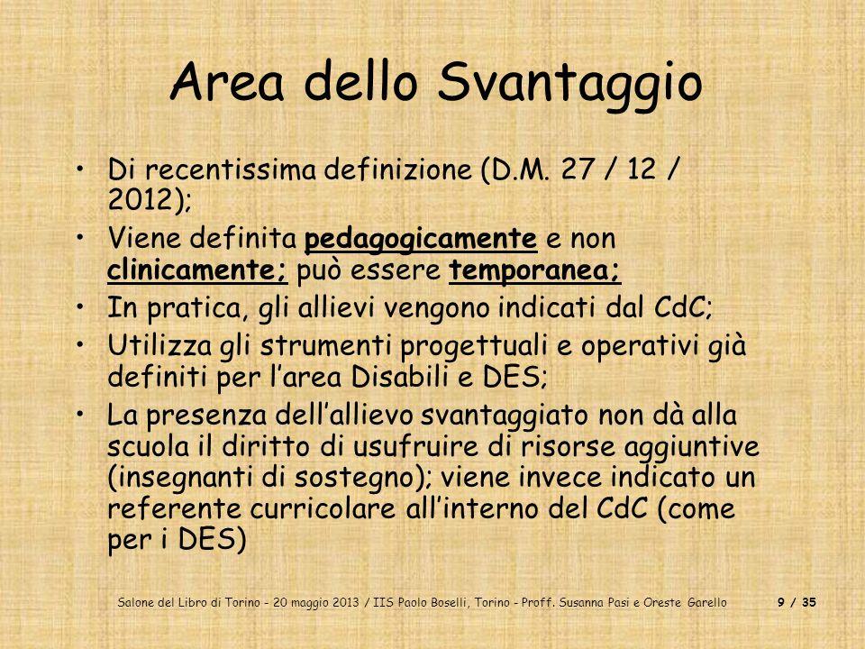 Area dello Svantaggio Di recentissima definizione (D.M. 27 / 12 / 2012); Viene definita pedagogicamente e non clinicamente; può essere temporanea;