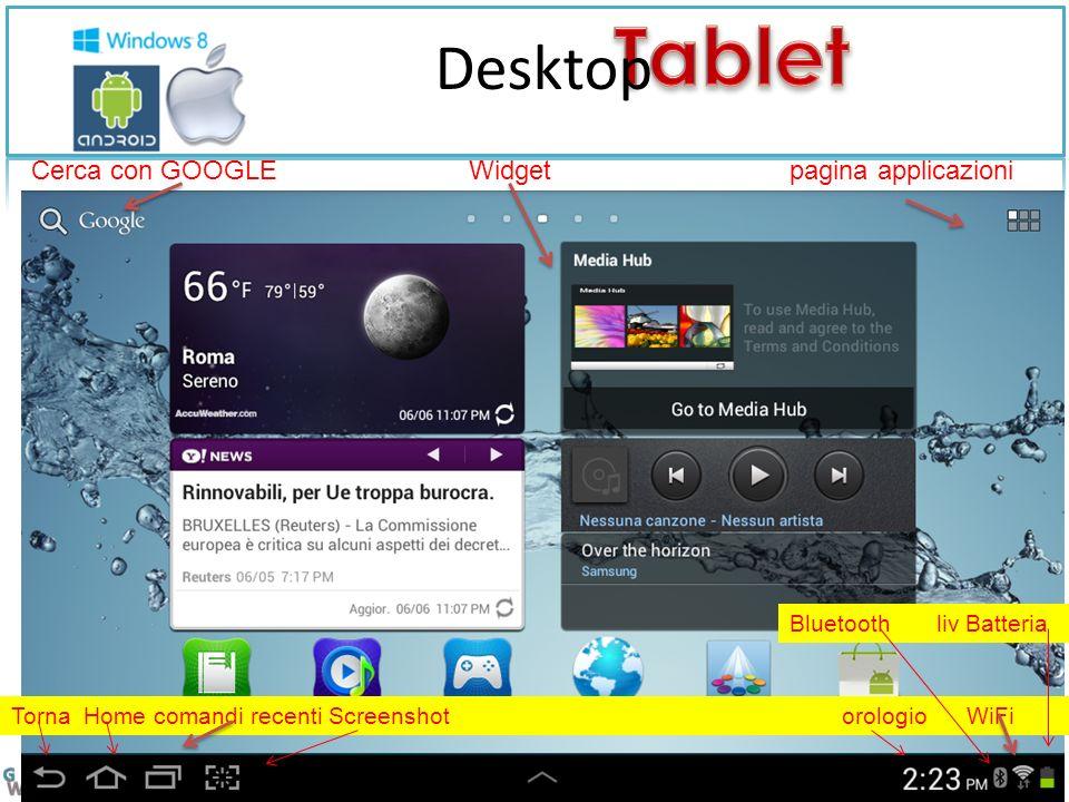 Desktop Cerca con GOOGLE Widget pagina applicazioni