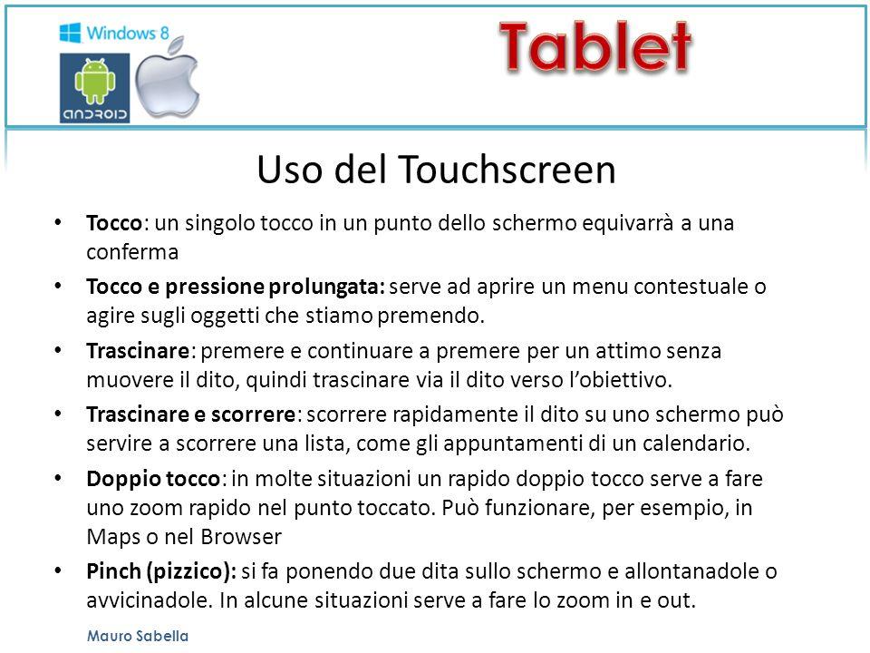 Uso del Touchscreen Tocco: un singolo tocco in un punto dello schermo equivarrà a una conferma.