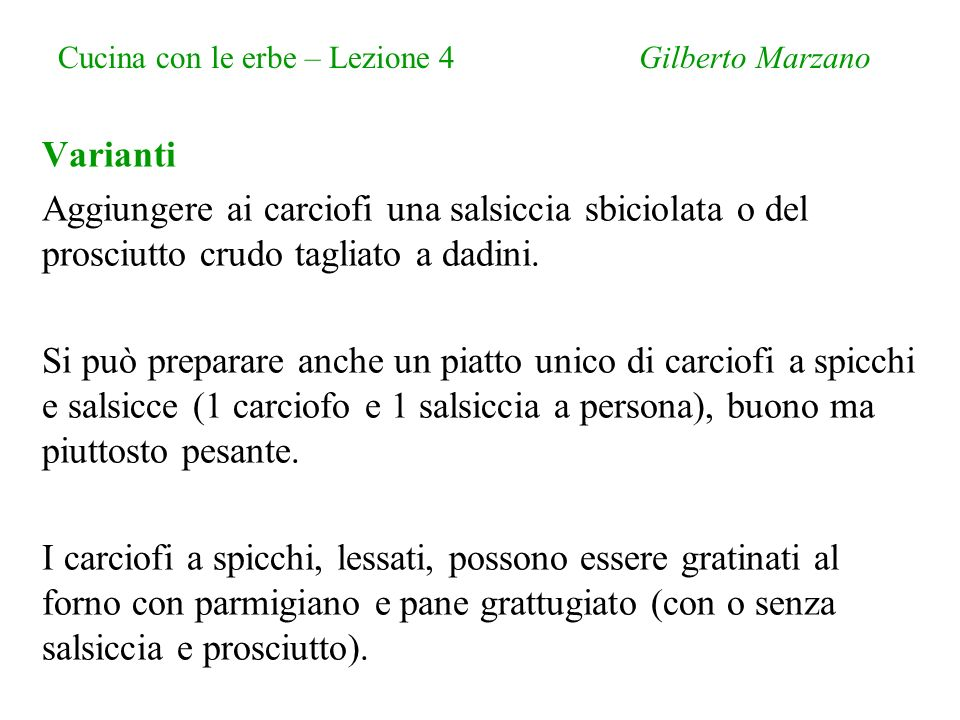 Cucina con le erbe – Lezione 4 Gilberto Marzano