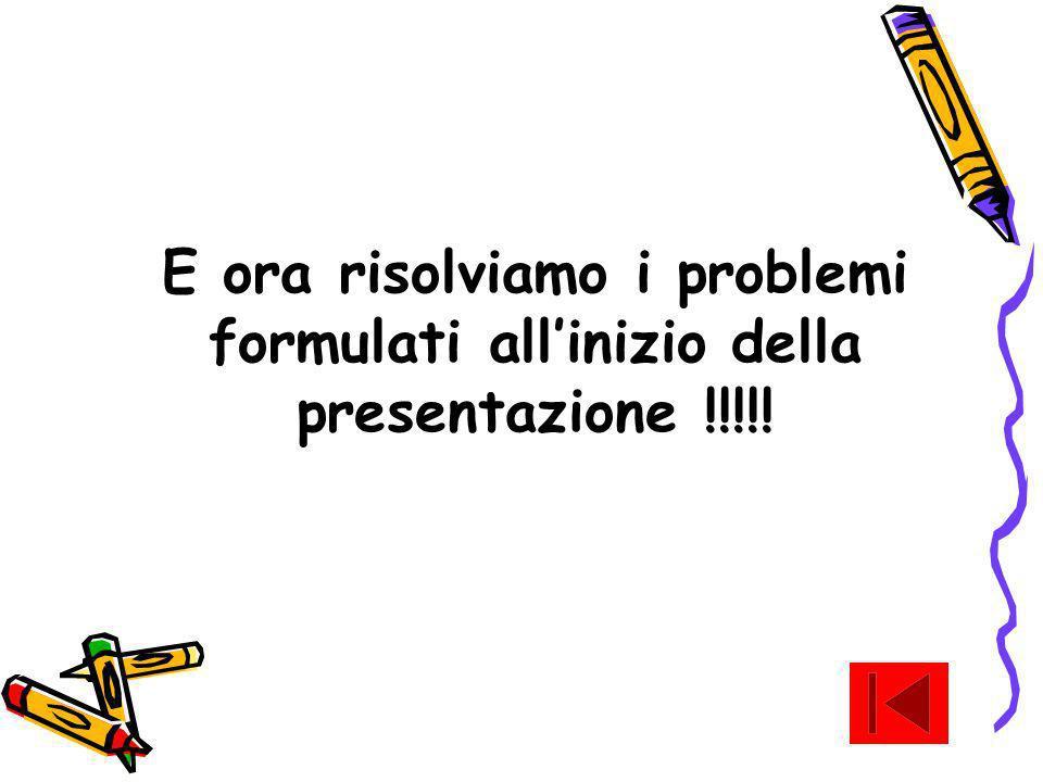 E ora risolviamo i problemi formulati all'inizio della presentazione !!!!!