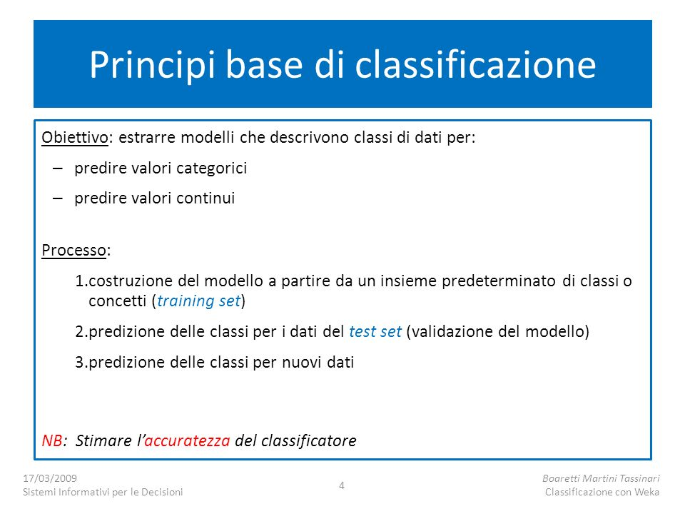 Principi base di classificazione