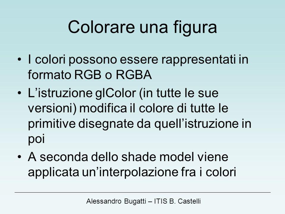 Colorare una figura I colori possono essere rappresentati in formato RGB o RGBA.