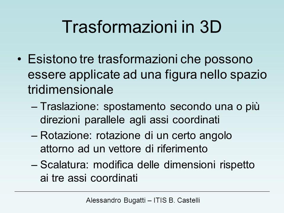 Trasformazioni in 3D Esistono tre trasformazioni che possono essere applicate ad una figura nello spazio tridimensionale.