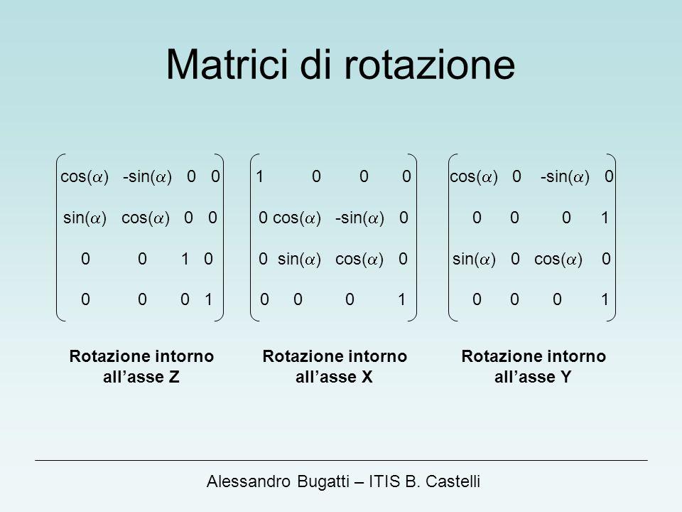 Matrici di rotazione cos(a) -sin(a) 0 0 sin(a) cos(a) 0 0 0 0 1 0