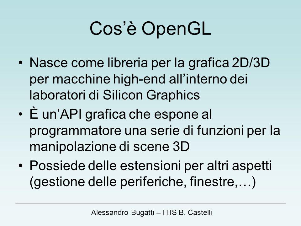 Cos'è OpenGL Nasce come libreria per la grafica 2D/3D per macchine high-end all'interno dei laboratori di Silicon Graphics.