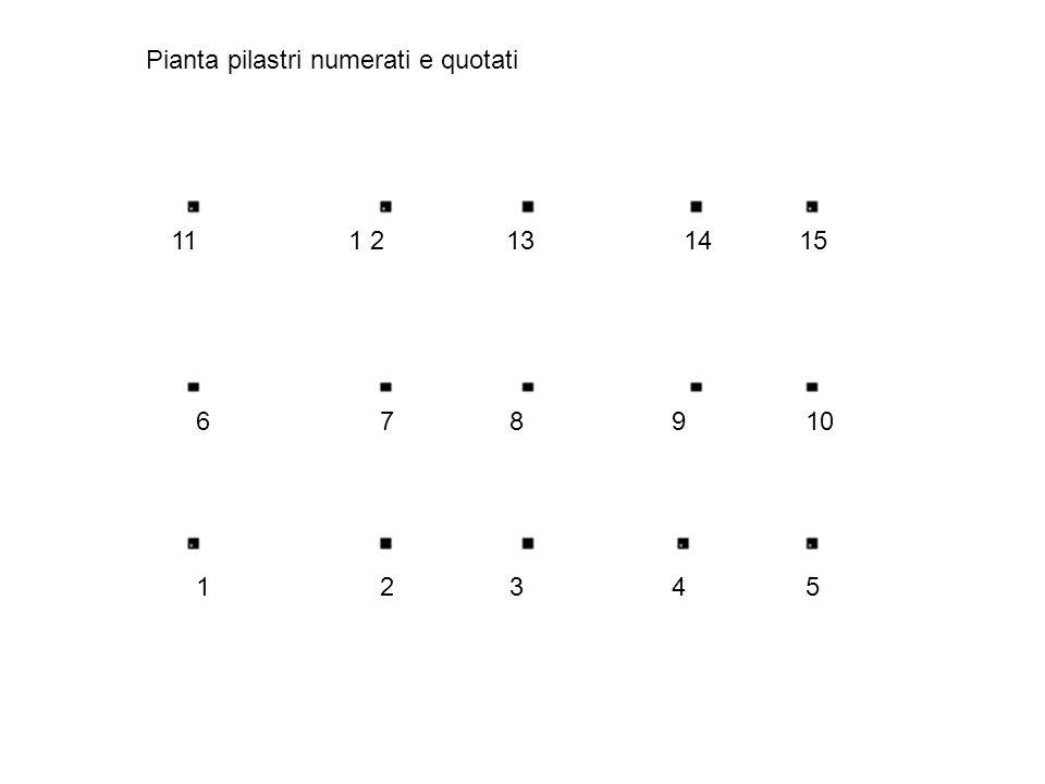 Pianta pilastri numerati e quotati