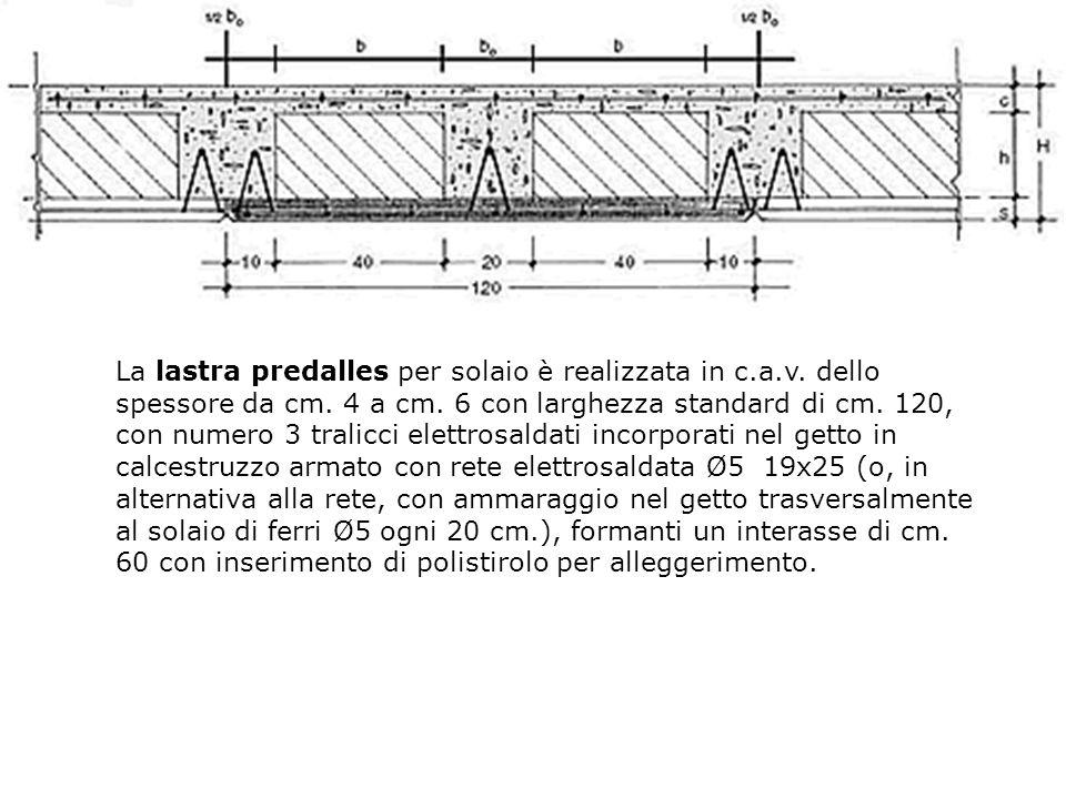 La lastra predalles per solaio è realizzata in c. a. v
