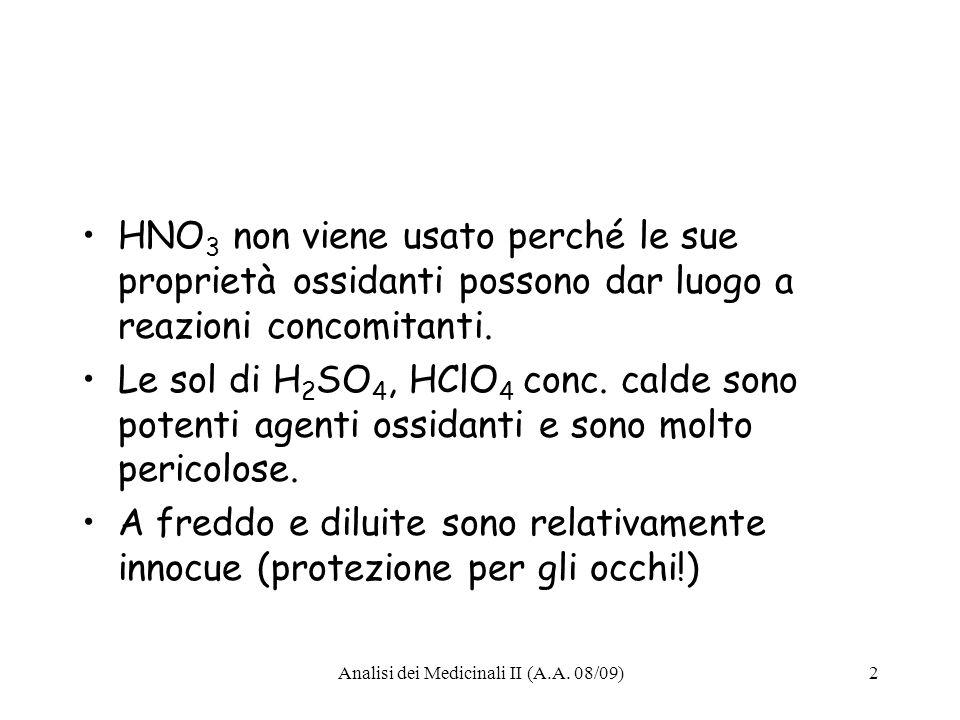 Analisi dei Medicinali II (A.A. 08/09)