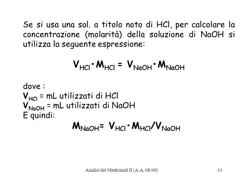 VHCl•MHCl = VNaOH•MNaOH
