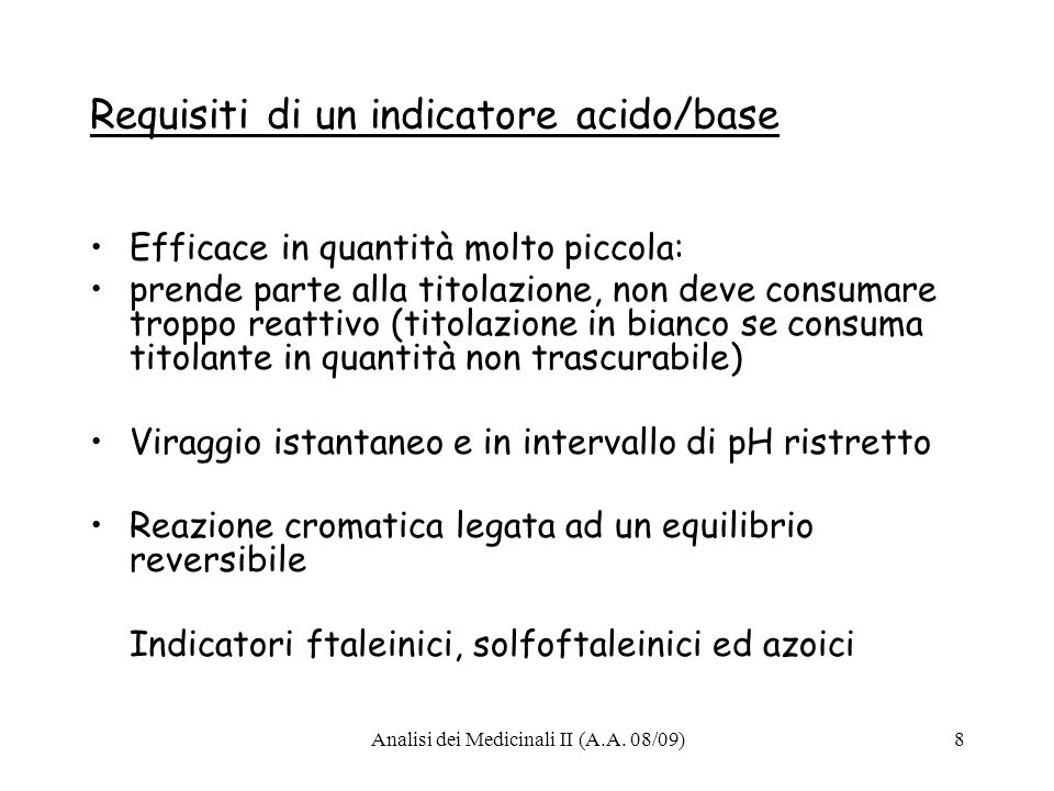 Requisiti di un indicatore acido/base
