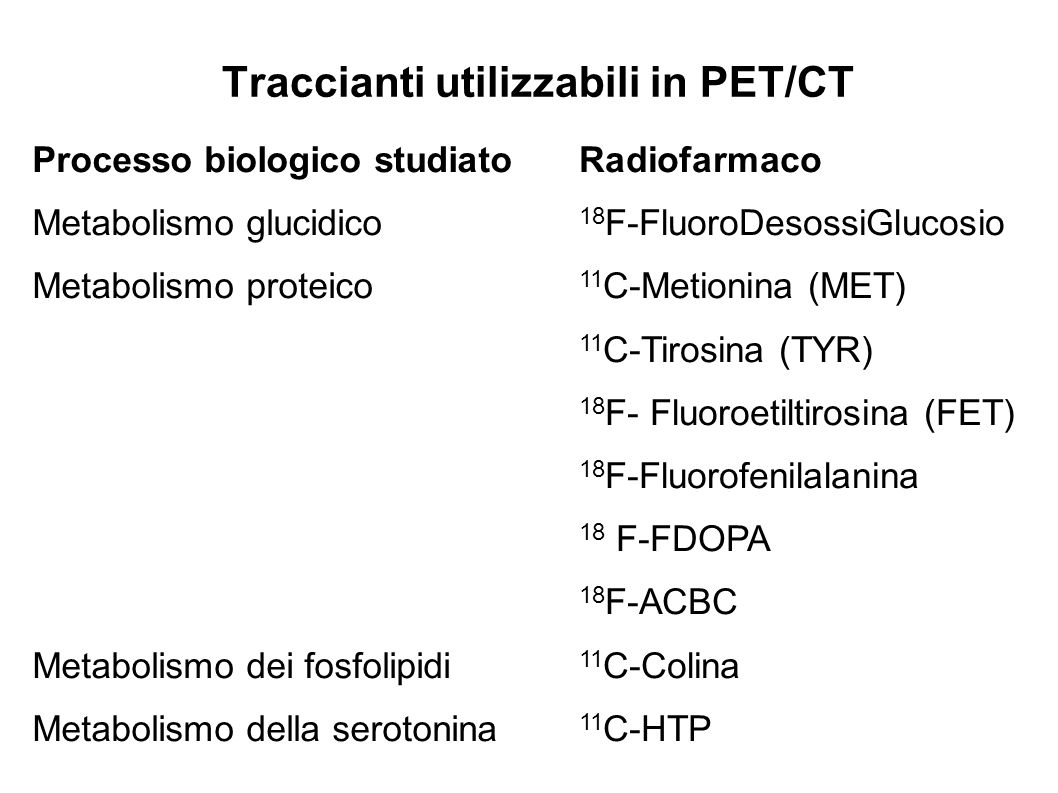 Traccianti utilizzabili in PET/CT