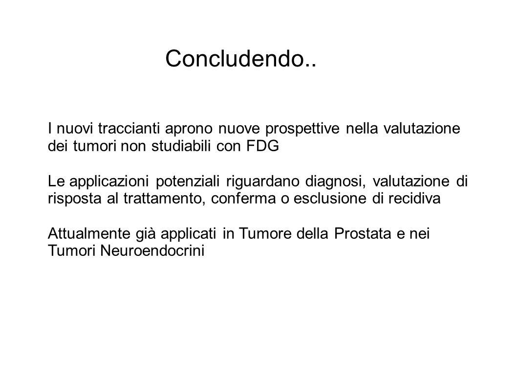 Concludendo.. I nuovi traccianti aprono nuove prospettive nella valutazione dei tumori non studiabili con FDG.