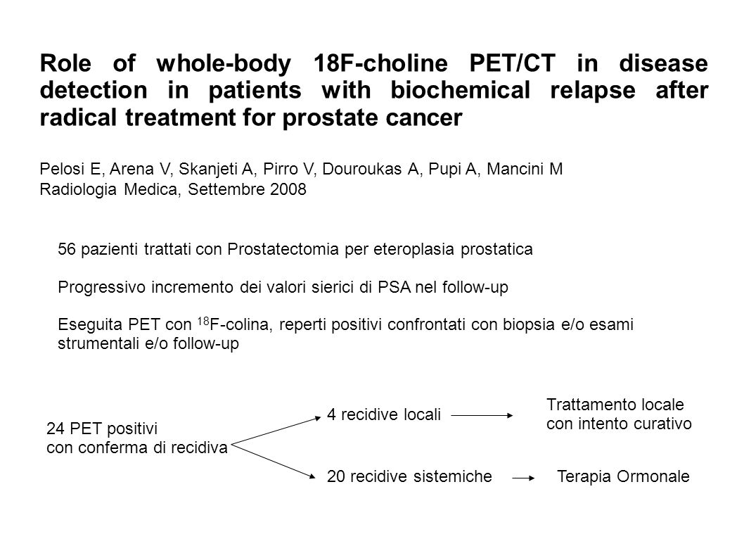 Role of whole-body 18F-choline PET/CT in disease detection in patients with biochemical relapse after radical treatment for prostate cancer