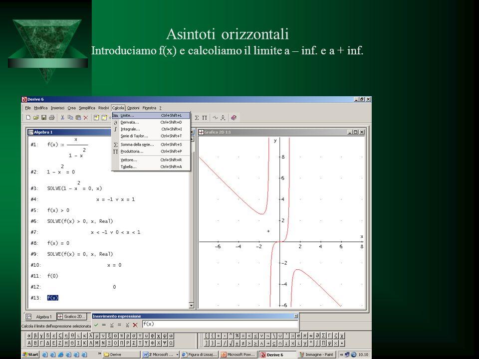 Asintoti orizzontali Introduciamo f(x) e calcoliamo il limite a – inf.