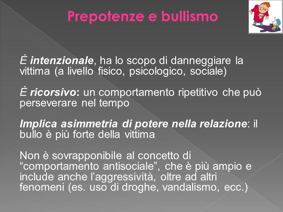 Prepotenze e bullismo È intenzionale, ha lo scopo di danneggiare la vittima (a livello fisico, psicologico, sociale)