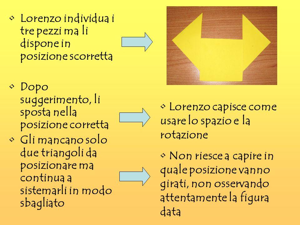 Lorenzo individua i tre pezzi ma li dispone in posizione scorretta