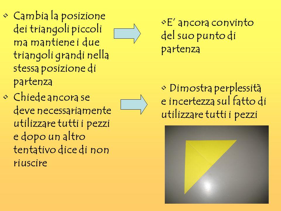 Cambia la posizione dei triangoli piccoli ma mantiene i due triangoli grandi nella stessa posizione di partenza