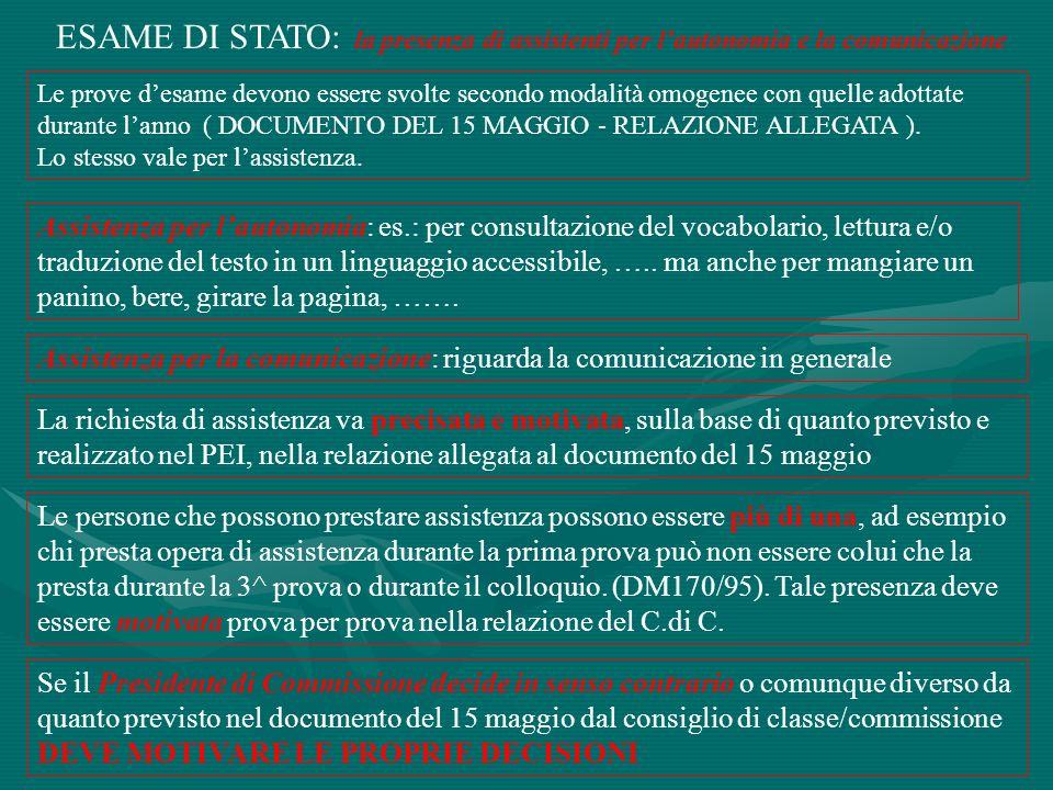 ESAME DI STATO: la presenza di assistenti per l'autonomia e la comunicazione