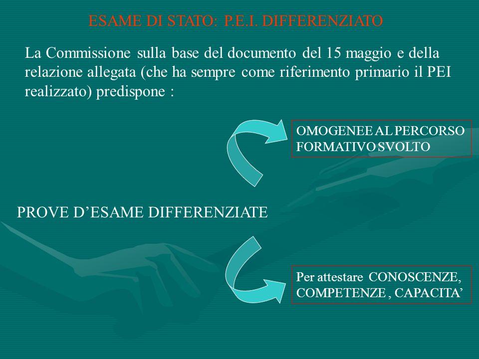 ESAME DI STATO: P.E.I. DIFFERENZIATO