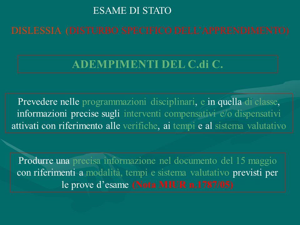 DISLESSIA (DISTURBO SPECIFICO DELL'APPRENDIMENTO)