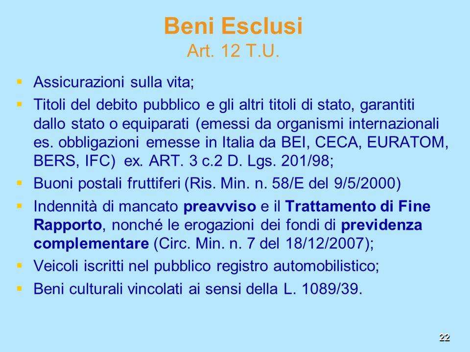 Beni Esclusi Art. 12 T.U. Assicurazioni sulla vita;