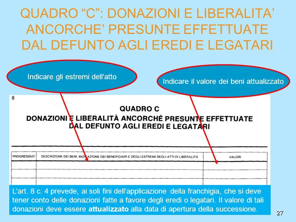 QUADRO C : DONAZIONI E LIBERALITA' ANCORCHE' PRESUNTE EFFETTUATE DAL DEFUNTO AGLI EREDI E LEGATARI