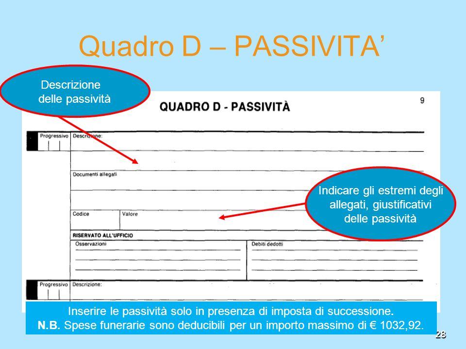 Quadro D – PASSIVITA' Descrizione delle passività