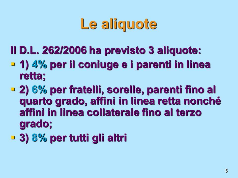 Le aliquote Il D.L. 262/2006 ha previsto 3 aliquote: