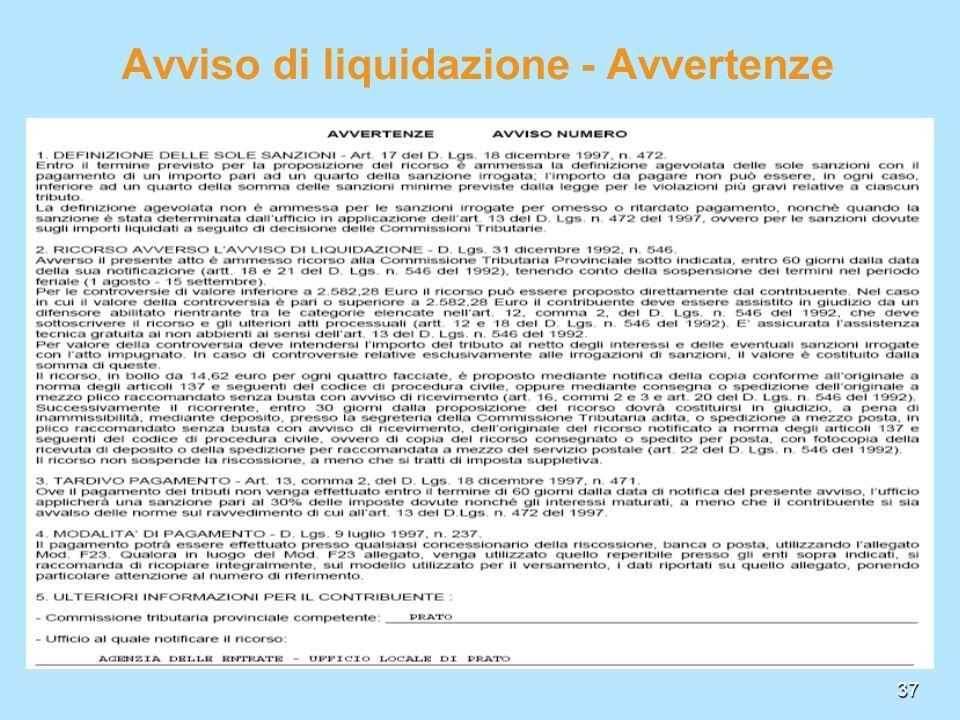Avviso di liquidazione - Avvertenze