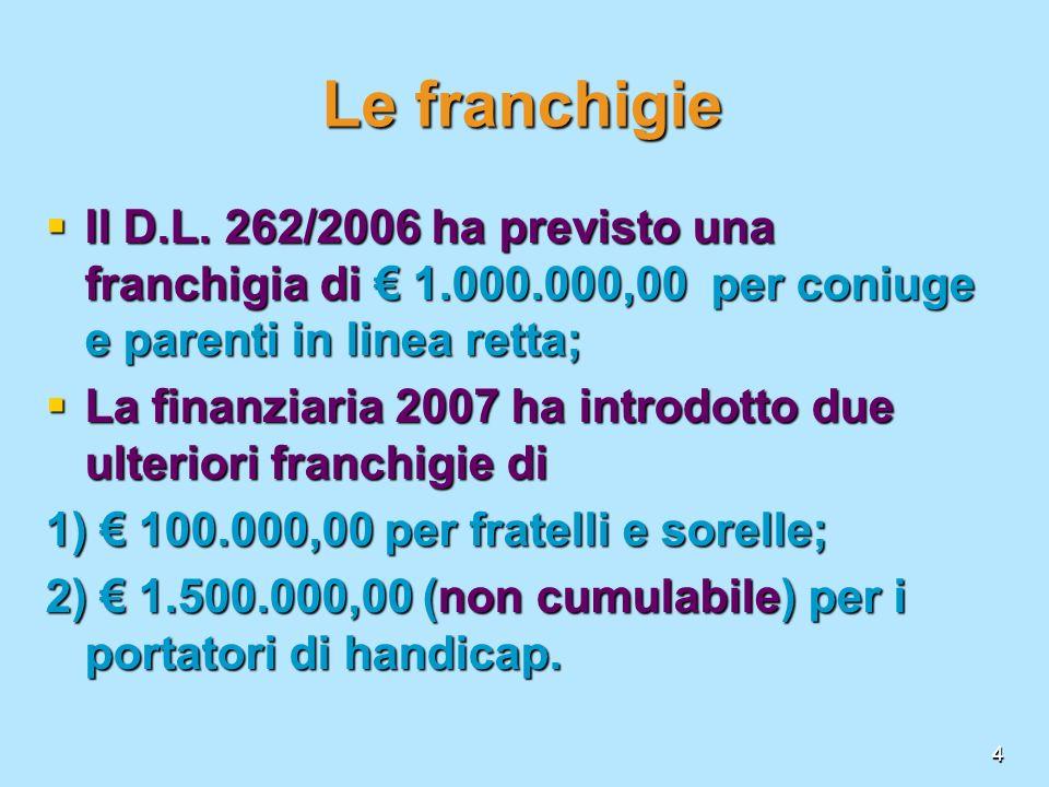 Le franchigie Il D.L. 262/2006 ha previsto una franchigia di € 1.000.000,00 per coniuge e parenti in linea retta;