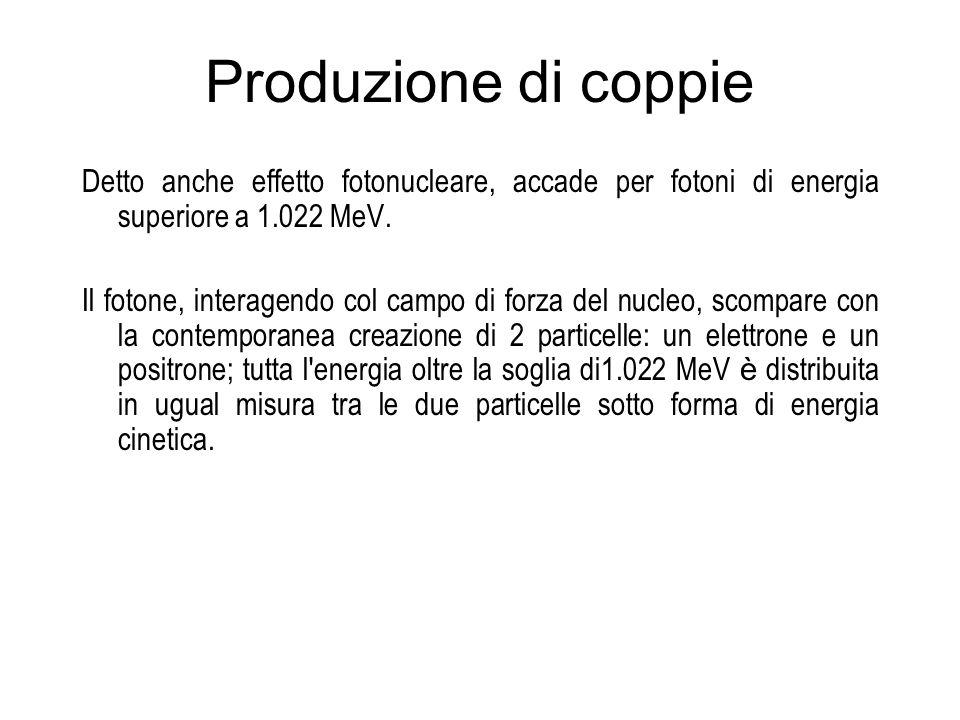 Produzione di coppie Detto anche effetto fotonucleare, accade per fotoni di energia superiore a 1.022 MeV.