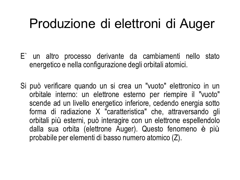 Produzione di elettroni di Auger