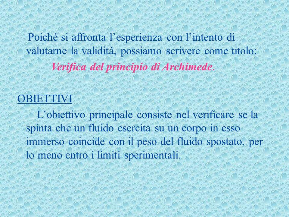 Verifica del principio di Archimede. OBIETTIVI
