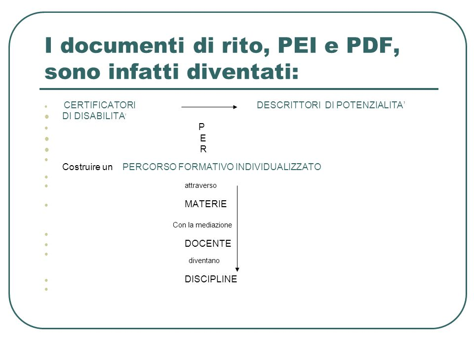 I documenti di rito, PEI e PDF, sono infatti diventati: