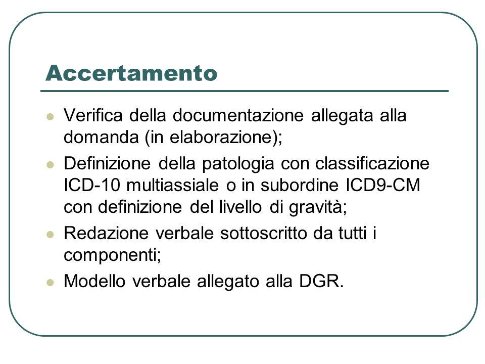 Accertamento Verifica della documentazione allegata alla domanda (in elaborazione);