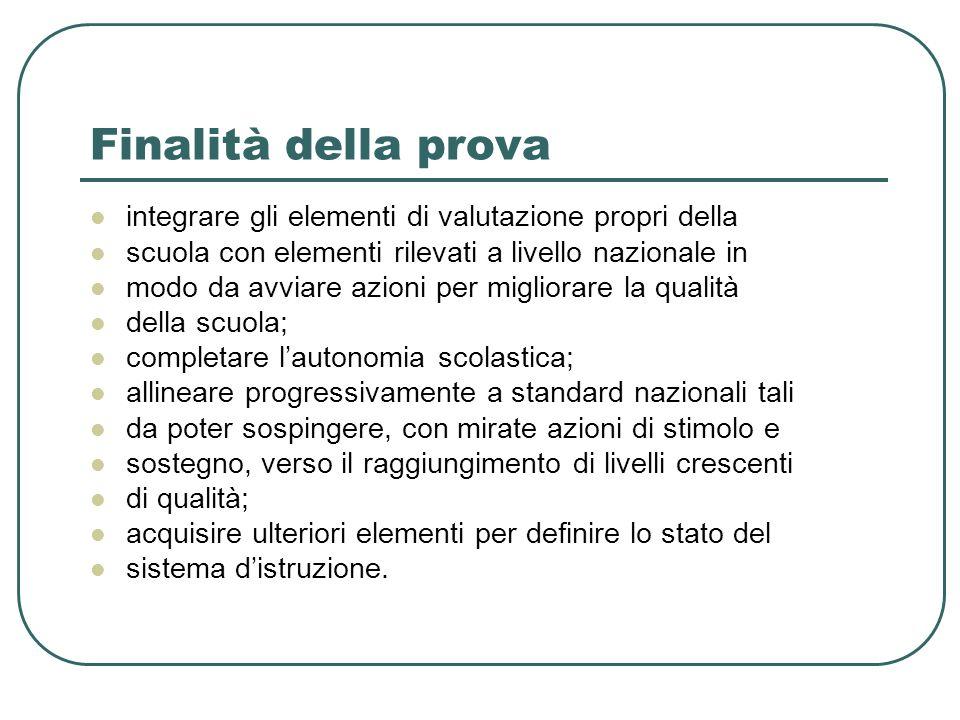 Finalità della prova integrare gli elementi di valutazione propri della. scuola con elementi rilevati a livello nazionale in.