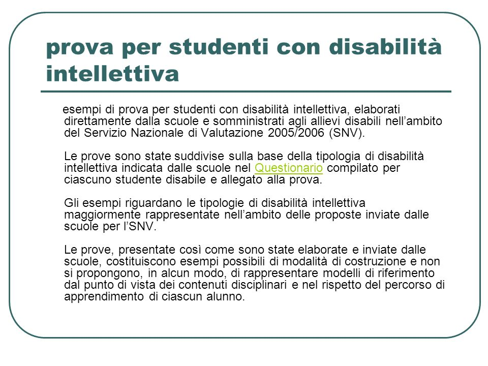 prova per studenti con disabilità intellettiva
