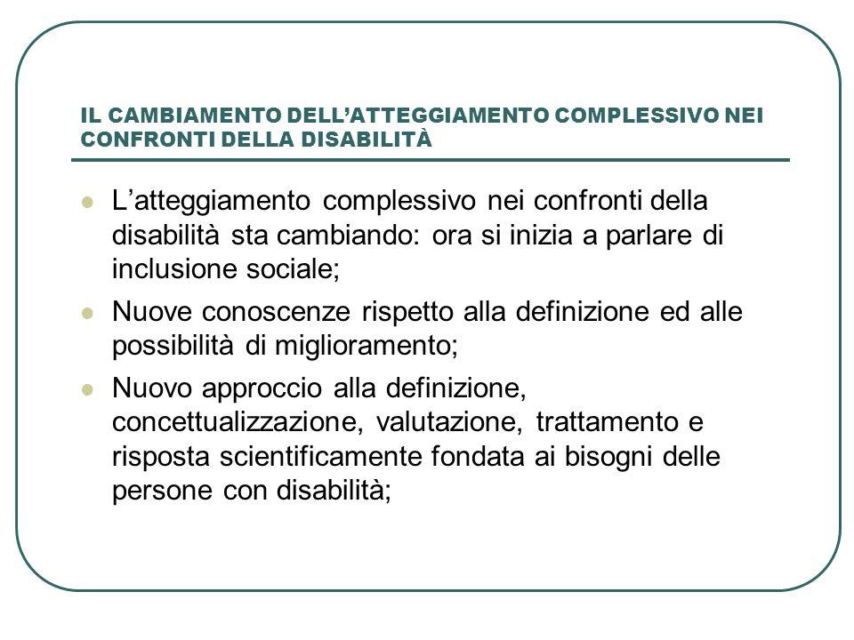 IL CAMBIAMENTO DELL'ATTEGGIAMENTO COMPLESSIVO NEI CONFRONTI DELLA DISABILITÀ